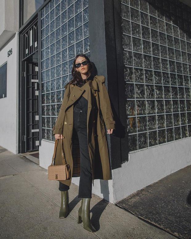 Áo khoác trench coat mix quần jeans & phụ kiện boot1