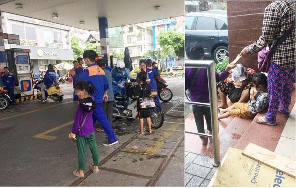 Những đứa trẻ chực chờ xin tiền ở cây xăng trên đường Phan Xích Long1