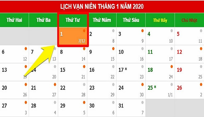 Ngày 01/01/2020 rơi vào Thứ Tư nên người lao động chỉ được nghỉ duy nhất 1 ngày1
