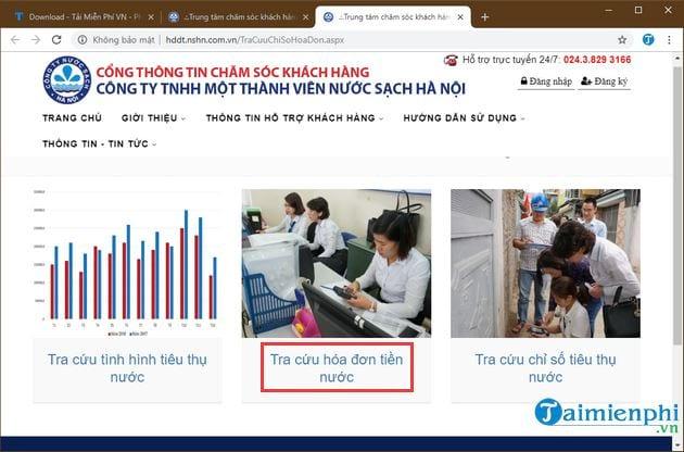 Tra cứu tiền nước Hà Nội qua websitechăm sóc khách hàng của công ty nước sạch Hà Nội1
