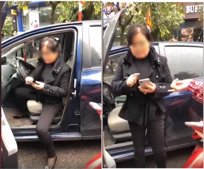 Nữ tài xế ô tô đâm vào người phụ nữ đi xe máy khiễn 2 mẹ con bị ngã1