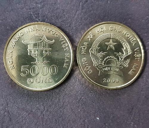Biểu tượng Chùa Một Cột còn được khắc ở mặt sau đồng tiền kim loại 5000 đồng1