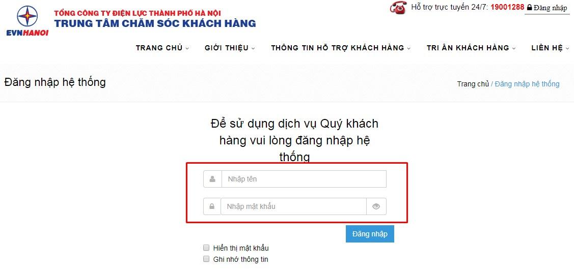 Truy cập vào trang chăm sóc khách hàng của điện lực Hà Nội để tra cứu tiền điện1