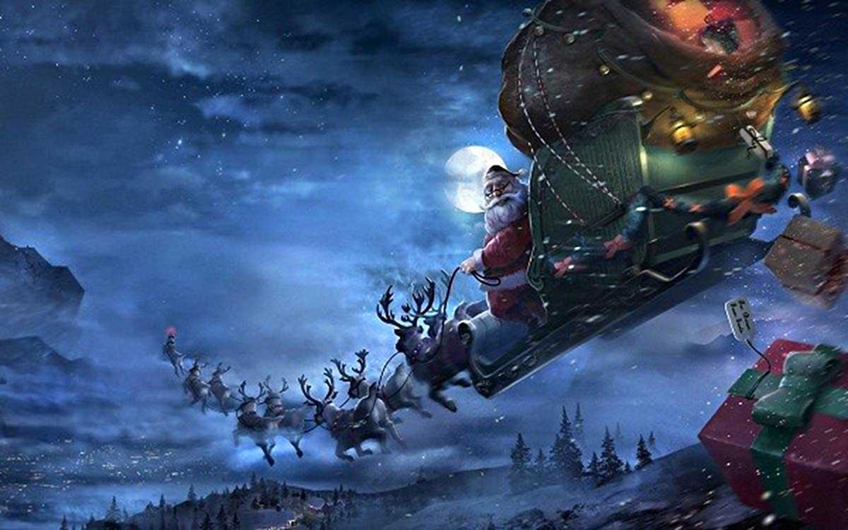 Ông già Noel bắt đầu hành trình phát quà bằng xe kéo bởi 9 con tuần lộc1