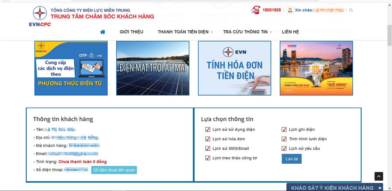 Truy cập vào trang chăm sóc khách hàng của điện lực miền Trung để tra cứu tiền điện1