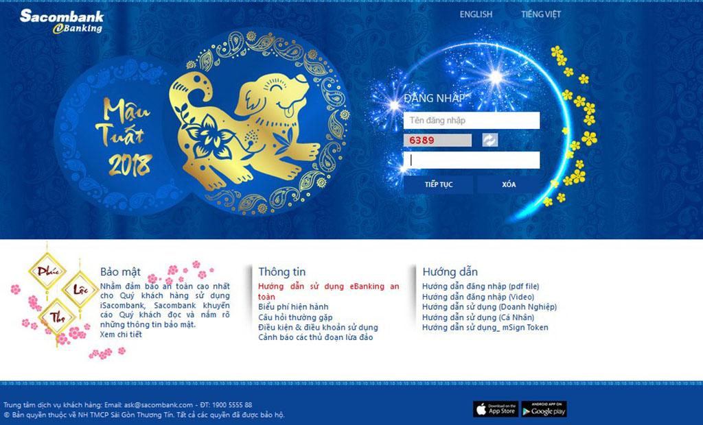 Đăng nhập vào website ngân hàng Sacombank1
