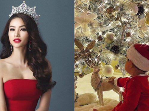 Hoa hậu Phạm Hương khoe ảnh con trai tròn 1 tuổi đúng dịp Giáng Sinh