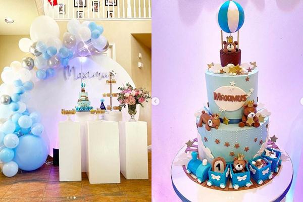 Chiếc bánh sinh nhật xinh xắn trong lễ sinh nhật con trai 1 tuổi của Phạm Hương1