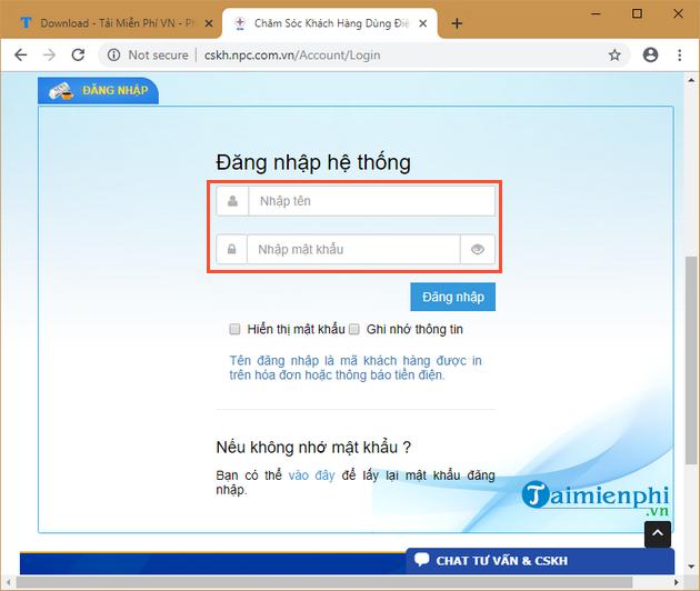 Đăng nhập mật khẩu và số tài khoản để vào hệ thống1
