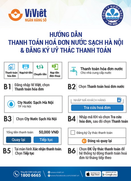 Ví Việt liên kết với công ty cổ phần nước sạch Hawaco hỗ trợ khách hàng thanh toán tiền nước1