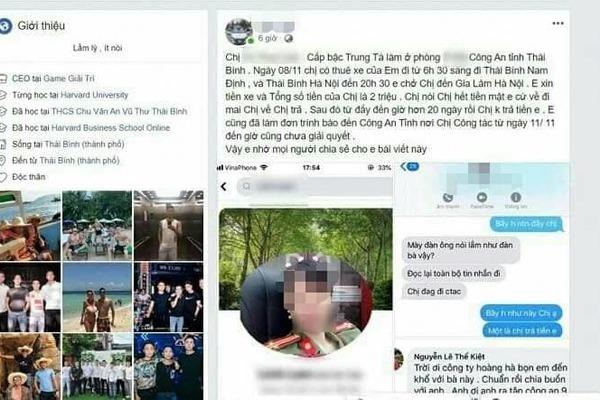 Nội dung bài đăng của tài xế B.Đ.H trên facebook và tin nhắn trò chuyện với chị L1