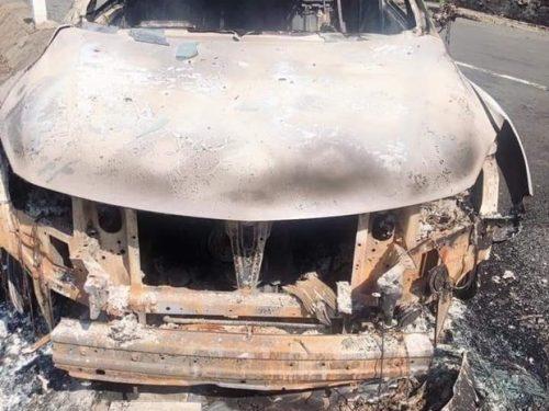 Phát hiện một thi thể bị cháy đen biến dạng trong xe ôtô